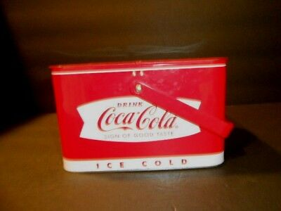 """Vintage Coca Cola Small Hinged Tin Red  Cooler Lunch Box Tin Nice Coke  7""""x5""""x4"""""""