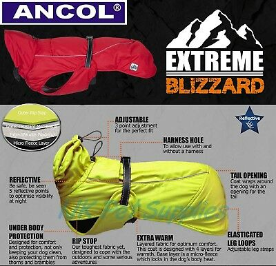 Ancol All Weather Extreme Blizzard Dog Puppy Waterproof Harness Compatible Coat