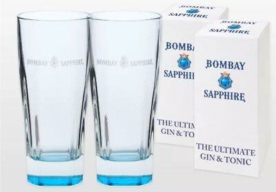 Bombay Sapphire Gin Glasses X 2 New & Gift Boxed
