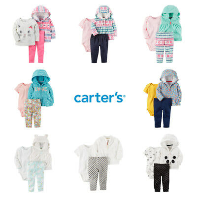 dd8b3a3f019f BABY GIRL CARTERS 3-Pc Fall Winter Outfit Jacket Bodysuit Top Pant ...