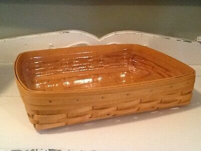 Longaberger Paper Letter Tray Flat Bottom Basket w/ Protector EUC