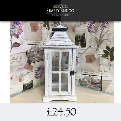 Shabby Chic Large White Metal/Wooden Outdoor/Indoor Lantern - 43cm