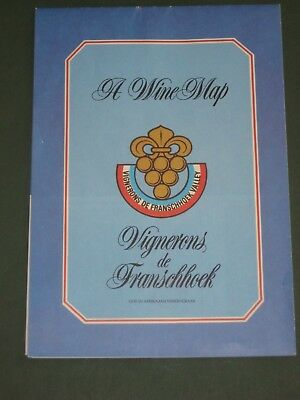Wine Map of the Wineries of Franschhoek, South Africa, 1986