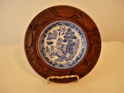 George Jones Antique Blue Willow Butter Dish In Carved Wooden Stand Crescent Chi