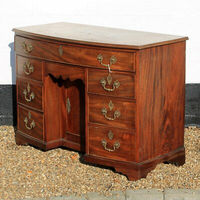 Georgian Antique Mahogany Bow Front Knee-hole Desk with Large Drawers & Cupboard