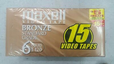 Brand New! Maxell Bronze T 120 Blank VHS Video Tapes 15 Pack - FREE SHIPPING!!!!
