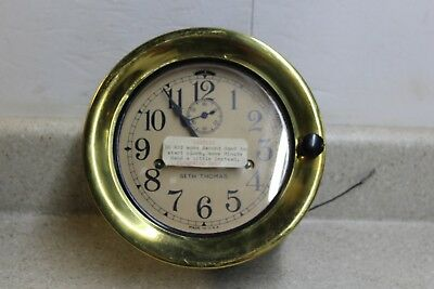 Seth Thomas 8 Day Ships Clock with Brass Bezel & Strange wiring Harness US Navy