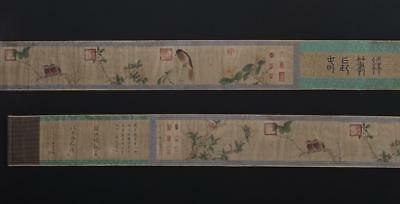 Fine Antique Chinese Hand-painting Scroll Zhao Chang Marked-flower&bird