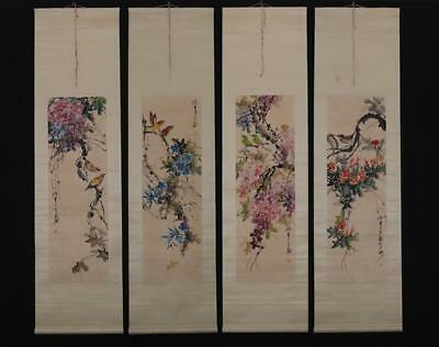 Fine Chinese Hand-painting Painting Four Scroll Chen Banding Marked-flower