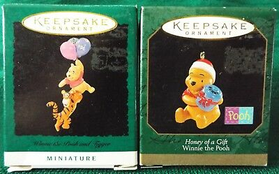 Hallmark 1996 WINNIE THE POOH & TIGGER/1997 HONEY OF A GIFT Miniature Ornaments