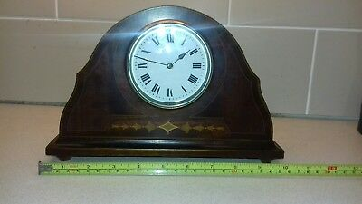 Antique Inlaid Mahogany cased edwardian Mantel Clock for spares or repair