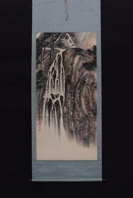Fine Chinese Hand-painting Painting Scroll Song Wenzhi Marked-landscape