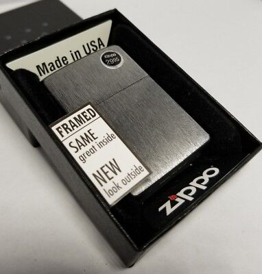 Zippo 24752 Framed Black Brushed Chrome Lighter NEW LOOK Msrp $29.95 old stock