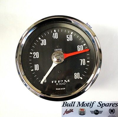 Classic Mini Tachometer / Rev Counter - 80mm (0-8000) Black SIB120
