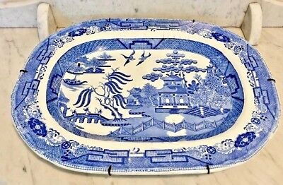 Rare Antique Spode early 18th Century 18 inch Blue Willow Transferware Platter