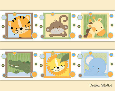 Safari Animal Nursery Decal Wallpaper Border Baby Wall Art Stickers Kids Jungle