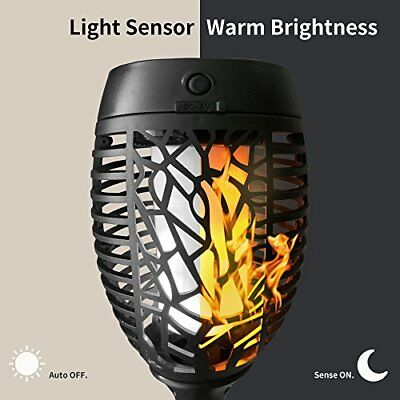 Petrala Solar Torch Lights Outdoor Dancing Flickering Flames USB Charging Rec...