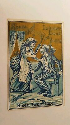 Ludlow's Ladies Fibe Shoes Marinette WI Victorian Trade Card