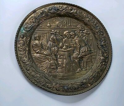 "Brass Wall Plate Hanging Embossed Pub England 16.5"" Castle Art Bronze Decoration"
