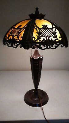 Victorian/Arts & Crafts Lamp Base signed 3 socket Miller Co w/Slag Glass Shade