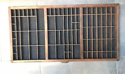 Antique Printers Tray Old Letterpress Drawer Wall Display Vintage Wooden Rack