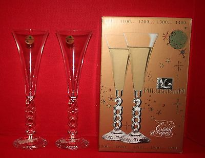 2000 MILLENNIUM CRISTAL D' ARQUES FRANCE CHAMPAGNE GLASSES Set of 2 EUC