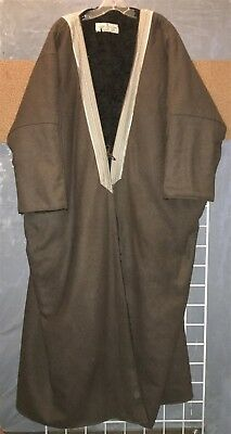Afghan long brown wool coat w/ faux fur lining chitral chugah patol paku XL