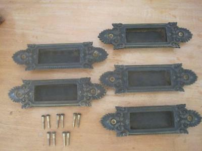 Vintage Brass Yale & Towne Y&T Recessed Window Sash Lifts Pulls 5 pcs Victorian