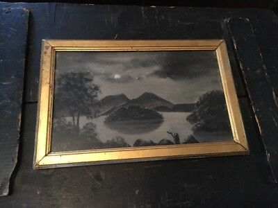 Antique Early Sandpaper Art Drawing Marble Dust Original Frame Rare