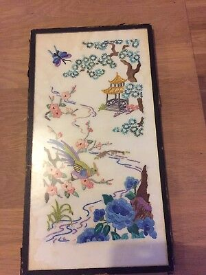 Vintage Hand Embroidered Chinese Panel In Frame