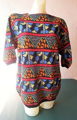 Fiorucci tunic sweater size small vintage 80s geometric pattern black blue red