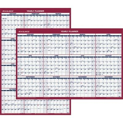 """2019 AT-A-GLANCE Vertical/Horizontal Yearly Wall Calendar, 24"""" x 36"""" PM212-28-19"""