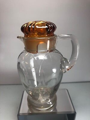 Rare Cambridge Glass Cocktail Shaker Juice Jug With Amber Lid HTF shape Style