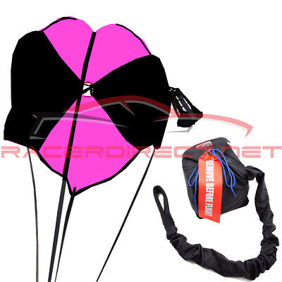 Drag Racing Parachute Spring Loaded Drag Safety Chute Black & Pink Racerdirect