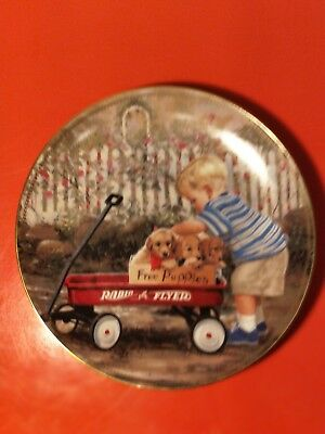 Puppy Love By Donald Zolan Radio Flyer Retriever Collector Plate Danbury Mint