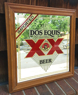 """Vtg DOS EQUIS Beer-Imported-17""""x17""""-Bar/Pub Mirror-Wood Frame-XX-Mexico-Square"""
