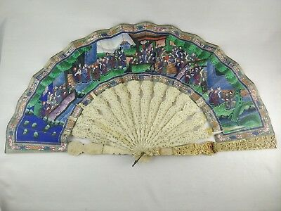 Antique Chinese  Filigree Carved Hand Painted 100 Faces Fan - for Restore