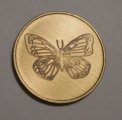 Bronze Aa Al-Anon Na Alcoholics Anonymous Butterfly Chip Coin Token Medallion