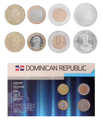 Dominican Republic 1 - 25 Pesos 4 Pieces - PCS Coin Set,2008-2010,Mint,In Holder