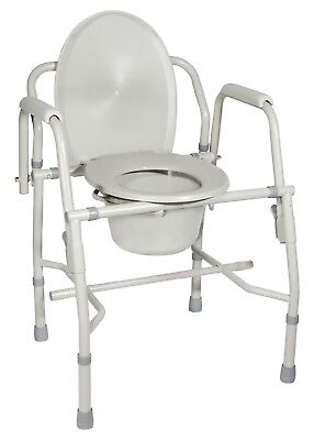 LOT OF 2 K.D. Deluxe Steel Drop-Arm Commode Grey 11125KD FREE SHIPPING