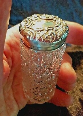 Antique Cut Glass Bottle Jar With Silver Cover Hallmarked 1904 Birmingham