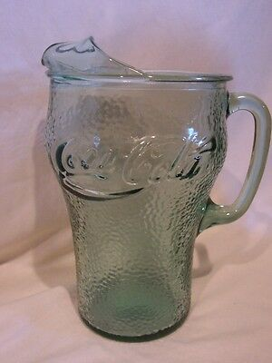 Coca-Cola Vintage Green Pebble Glass 64 Oz. Glass Pitcher - Euc