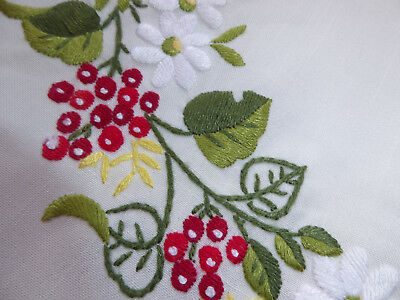 Christmas Tablecloth exquisitely hand embroidered & 4 Napkins -vintage