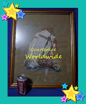 Vintage Pictures Ships Embroidery Tapestry Needlework Sewing Tapestries Large