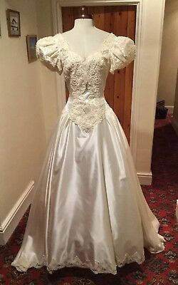 VINTAGE 1980's VICTORIAN STYLE IVORY SATIN WEDDING DRESS WITH TRAIN