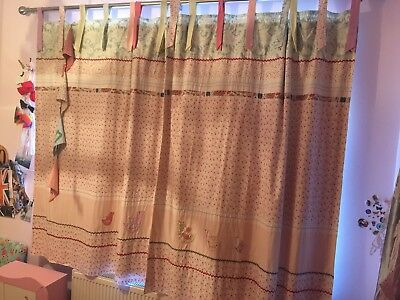 Mamas And Papas Made With Love Girls Nursery Curtains Tab Top Detailed Appliqued