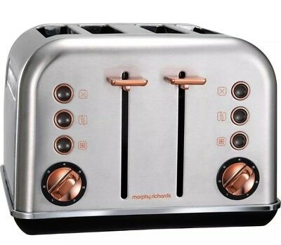 MORPHY RICHARDS Accents 242105 4-Slice Toaster - Brushed Stainless Steel & Rose