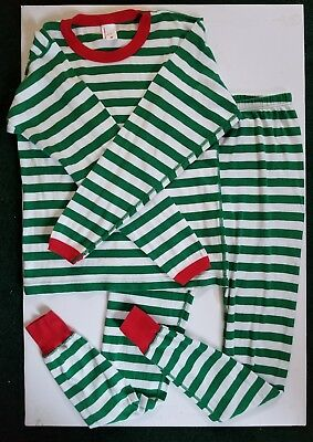 HANNA ANDERSSON Adult's XS PAJAMAS Merry Striped Pants Top Set Holiday Green USA