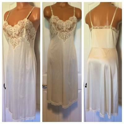 Vtg 1970's Vanity Fair Ivory W/ Frosted Lace Insets Full Slip Sz 34/12