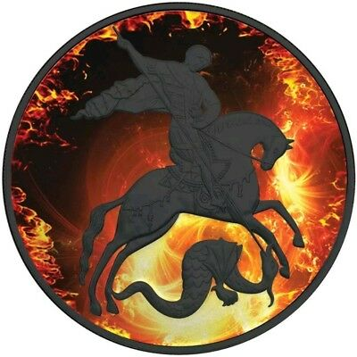 2010 1 Oz Silver ST. GEORGE IN FIRE Coin.